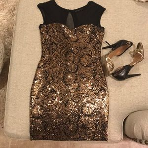 Gold and Black Sequins Dress